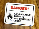 アメリカンインテリアの小技!雰囲気変わります!サイン&ラベルミニステッカー(シール、デカール)/EL-018/「危険!可燃物は近づけるな」