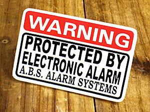 ステッカー 車 セキュリティー アメリカン おしゃれ バイク かっこいい カーステッカー 防犯 WARNING PROTECTED BY ELECTRONIC ALARM 【メール便OK】_SC-027-GEN