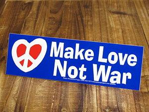 ステッカー 反戦 平和 車 アメリカン おしゃれ バイク ヘルメット かっこいい カーステッカー Make Love, Not War 「戦争ではなく、愛し合おう」 【メール便OK】_SC-BS007-GEN
