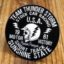 ショッピングUNDER ステッカー 車 アメリカン スカル メキシカン おしゃれ バイク ヘルメット かっこいい カーステッカー オイルショックデザインズ Team Thunder Storm 【メール便OK】_SC-OSS003-ACT