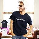 ◆「California」ロゴTシャツ◆Tシャツ メンズ おしゃれ ティーシャツ 半袖 カットソー トップス メンズファッション 春 春服 春物 クルーネック 綿 綿100% ロゴ ホワイト ネイビー 【GWC】