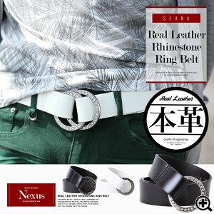 リアルレザーラインストーンリングベルト ヴィジュアル ビジュアル ファッション