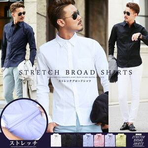 ストレッチ ブロード カジュアル トップス ファッション