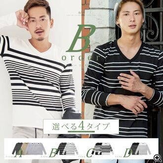 ◆roshell stripe long-sleeved tee◆breton stripe/marine/sailor/men's long-sleeved t-shirt/men's tee/men's tops/crew neck/stripe/v neck/winter fashion/autumn fashion/Japanese style