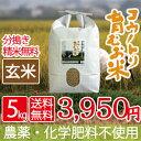 新米 無農薬 無化学肥料 送料無料 玄米 5kg 食べる健康...