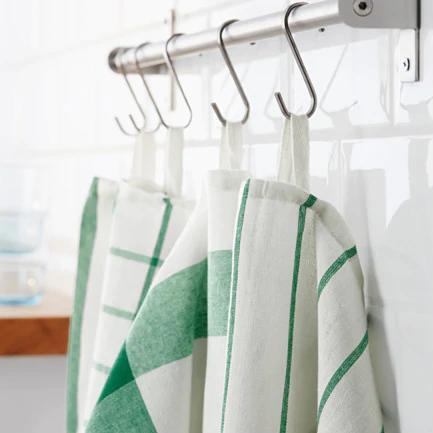 IKEA(イケア)ELLYキッチンクロス/ホワイトグリーン4 ピース