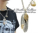 ☆925 two chain set price [super special service & free shipping] feather gold eagles handmade necklace / antique Indian jewelry native American / silver pendant & chain set / feather necklaces [_ Kinki tomorrow for comfort]