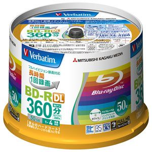 VBR260YP50V1【税込】 バーベイタム 4倍速対応BD-R DL 50枚パック 50GB ホワイト プリンタブル Verbatim [VBR260YP50V1]【返品種別A】【送料無料】【RCP】