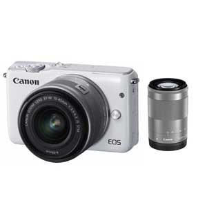 EOSM10WH-WZK【税込】 キヤノン ミラーレスカメラ「EOS M10」ダブルズームキット(ホワイト) Canon EOSM10 [EOSM10WHWZK]【返品種別A】【送料無料】【1201_flash】