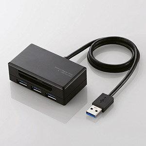 MR3-H009BK エレコム 33+5メディア USB3.0 ハブ付きメモリリーダライタ ブラック [MR3H009BK]【返品種別A】