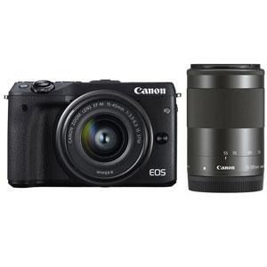 EOSM3BK-WZOOMKIT2【税込】 キヤノン ミラーレスカメラ「EOS M3」ダブルズームキット2(ブラック) Canon EOS M3 [EOSM3BKWZOOMKIT2]【返品種別A】【送料無料】【1201_flash】