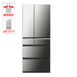 NR-F602XPV-X【税込】 パナソニック 601L 6ドア冷蔵庫(オニキスミラー) Panasonic ナノイー エコナビ [NRF602XPVX]【返品種別A】【送料無料】【RCP】