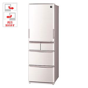 SJ-PW41C-C シャープ 412L 5ドア冷蔵庫(ベージュ系) SHARP プラズマクラスター冷蔵庫 どっちもドア [SJPW41CC]【返品種別A】【送料無料】(標準設置無料)