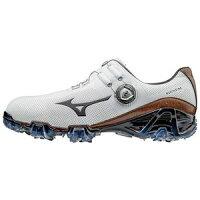51GM1700-55-255 ミズノ メンズ・ゴルフシューズ (ホワイト×ブラウン・25.5cm) MIZUNO GENEM 007 Boa EEEの画像