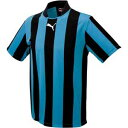 足球 - PAJ-903295-02-L プーマ サッカー ゲームシャツ(ブラック/サックス・Lサイズ) PUMA(プーマ) ストライプ半袖ゲームシャツ