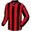 PAJ-903296-04-L プーマ サッカー ゲームシャツ(ブラック/レッド・Lサイズ) PUMA(プーマ) ストライプ長袖ゲームシャツ