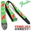 ギターストラップ フェンダーUSA【日本限定生産モデル モノグラム】 Fender USA Monogrammed Straps Japan LTD D.GRN/CRM/RED ダークグ..