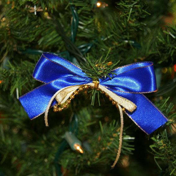 ナイトブルー&ゴールドリボン3個入 aks-44658 / クリスマス オーナメント クリスマスツリー ツリー 装飾 飾り 【訳あり】
