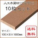 JJウッド006 (人工木材)断面規格(100×8mm) ブラウン 10枚セット 1800mm / ウッドデッキ 材料 人工木ウッドデッキ フェンス 目隠し 板材 工事