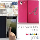 arrows NX F-01K ケース イニシャル 手帳型 スマホケース アローズ nx ケース スワロフスキー 手帳 スマホ カバー スマホカバー docomo スマートフォン 携帯 革