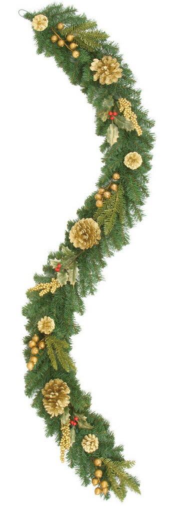 【クリスマス・装飾】ゴールドアレンジガーランド(グリッター)