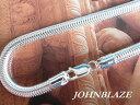特大スネークチェーン ネックレス イタリア製 長さ46cm/幅5mm シルバー925製