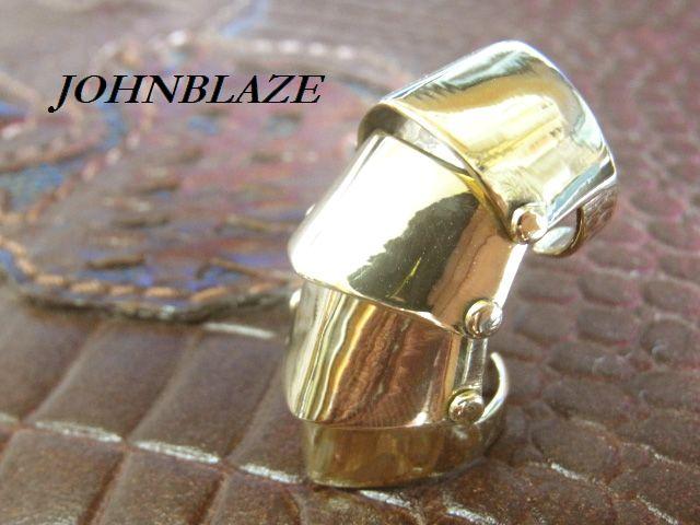金色の鏡面無地シンプルタイプ ウィメンズ アーマーリング 4連式 ブラス真鍮製