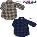 【セール】ミキハウス ダブルB(DOUBLE.B) 千鳥格子柄♪シャツワンピース(80、90)