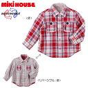 【セール】ミキハウス(MIKIHOUSE) キングくん☆チェックのリバーシブルシャツ(120、130)