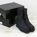 【SALE】ANGELA(アンジェラ)イタリア製 ストレッチ厚底ブーツ ブラック