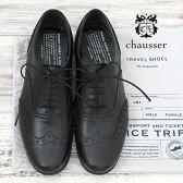 【2016秋冬入荷】 TRAVEL SHOES BY CHAUSSER【シューズ】ショセ トラベルシューズ004 ウィングチップ BLACK【レディース】【532P17Sep16】