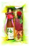 【】【風呂敷】旬の梅酒&プリザーブドフラワーギフトセット【楽ギフ包装】【楽ギフメッセ】