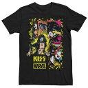 ショッピングレトロ MARVEL Tシャツ 黒色 ブラック 【 MARVEL KISS STAR PANELS RETRO COMIC TEE BLACK 】 メンズファッション トップス Tシャツ カットソー