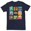 ショッピングどうぶつの森 LICENSED CHARACTER キャラクター Tシャツ 紺色 ネイビー 【 LICENSED CHARACTER ANIMAL CROSSING GROUP SHOT PANELS TEE NAVY 】 メンズファッション トップス Tシャツ カットソー