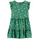 ショッピングカーターズ カーターズ ベビー 赤ちゃん用 ドレス 緑 グリーン CARTER'S & ジュニア キッズ 【 GREEN TODDLER BEE FLORAL RUFFLE DRESS 】