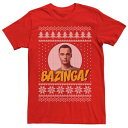 LICENSED CHARACTER キャラクター Tシャツ 赤 レッド 【 RED LICENSED CHARACTER THE BIG BANG THEORY BAZINGA HOLIDAY PATTERN TEE 】 メンズファッション トップス Tシャツ カットソー