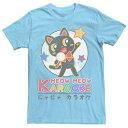 ショッピングカラオケ キャラクター Tシャツ 青色 ブルー メンズ 【 LICENSED CHARACTER FIFTH SUN KARAOKE CAT ANIMAL TEE LIGHT BLUE 】