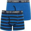 TOKYO LAUNDRY ショーツ ハーフパンツ 青色 ブルー 紺色 ネイビー ブレイザー 2個入 ボクサーショーツ メンズ 【 TOKYO LAUNDRY ALCOTT STRIPED SET IN JET BLUE NAVY BLAZER 】
