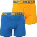 TOKYO LAUNDRY ショーツ ハーフパンツ 青色 ブルー 橙 オレンジ 2個入 ボクサーショーツ メンズ 【 ORANGE TOKYO LAUNDRY EDWARD SET IN JET BLUE CADMIUM 】