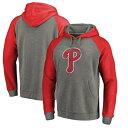 FANATICS BRANDED フィラデルフィア フィリーズ チーム ロゴ ラグラン メンズファッション トップス パーカー メンズ 【 Philadelphia Phillies Distressed Team Logo Tri-blend Big And Tall Raglan Pullover Hoodie - G