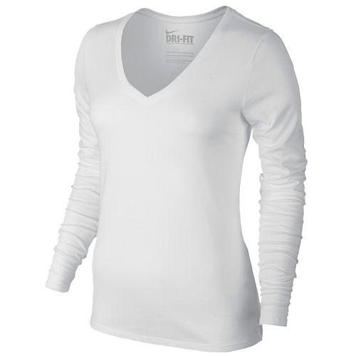 NIKE ナイキ DRI-FIT ドライフィット COTTON L/S 長袖・ロングスリーブ V-NECK ブイネック T-SHIRT Tシャツ 2.0 - WOMEN'S レディース