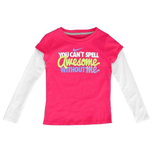 NIKE ナイキ GRAPHIC グラフィック 2 IN 1 L/S 長袖・ロングスリーブ T-SHIRT Tシャツ - GIRLS' PRESCHOOL 小中学生 子供用