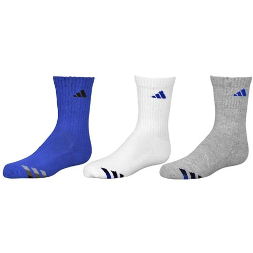 ADIDAS ADIDAS アディダス CUSHION 3-PACK CREW SOCKS ソックス・靴下 - BOYS' GRADE SCHOOL