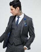 ブレンド BLEND ハリー 茶 ブラウン GRAY灰色 グレイ チェック スリム フィット ウール スーツ ジャケット メンズ 男性用 ファッション メンズファッション 【 GREY SLIM HARRY BROWN CHECK FIT WOOL SUIT JAC