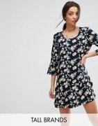 プリント y.a.s トール 3 4 スリーブ フローラル ドレス ワンピース tall shanti sleeve floral print dress レディースファッション