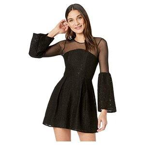 トランペット スリーブ ドレス ワンピース 黒 ブラッ