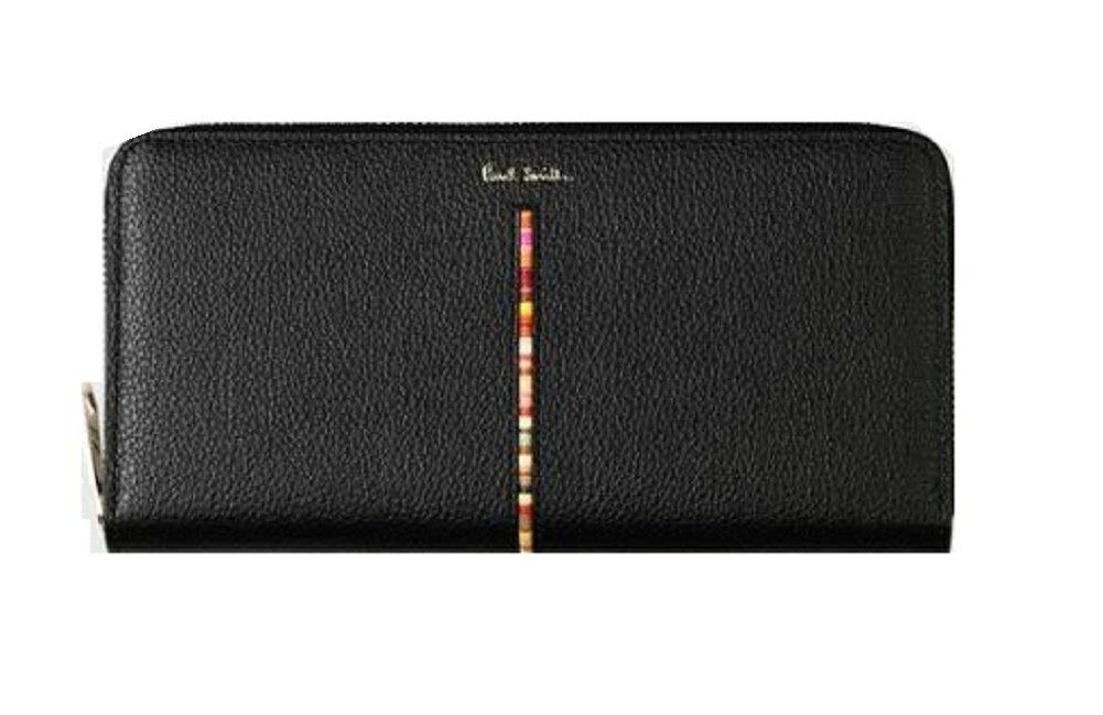 ポールスミス Paul Smith 財布 レディース財布 インセットクロスオーバーストライプ ラウンドジップ長財布 全3色 ブラック ネイビー ピンク