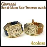 時計 腕時計 レディース メンズ Giovanni Sun & Moon Face Tonneau watch ジョバンニ サン&ムーンフェイス トノー ウォッチ 全4色 送料無料