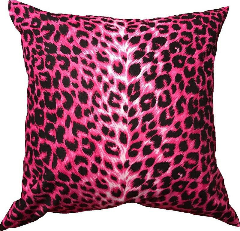 クッションカバー 約45×45cm ヒョウ ピンク                                    おしゃれ かわいい ファスナー 【送料無料】【日本製】【在庫限り】【メール便対応限定】