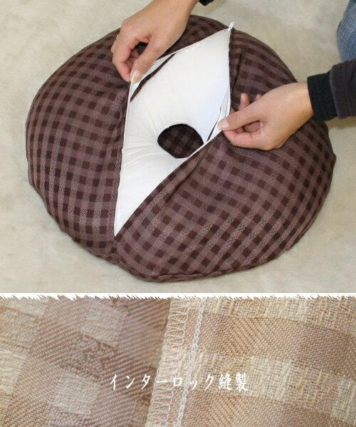 【新発売】カバーリング式円座クッションラティスはしっとり織物チェック柄で... ↑クリックすると